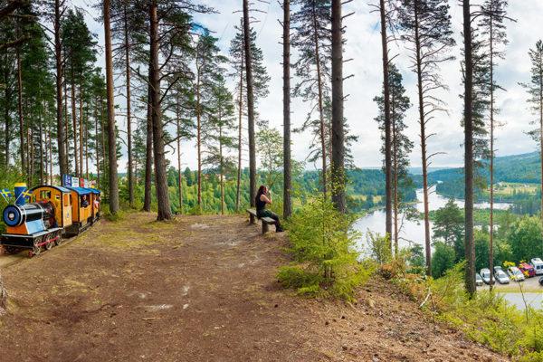 Alla gillar tåget på Näsåkers camping.